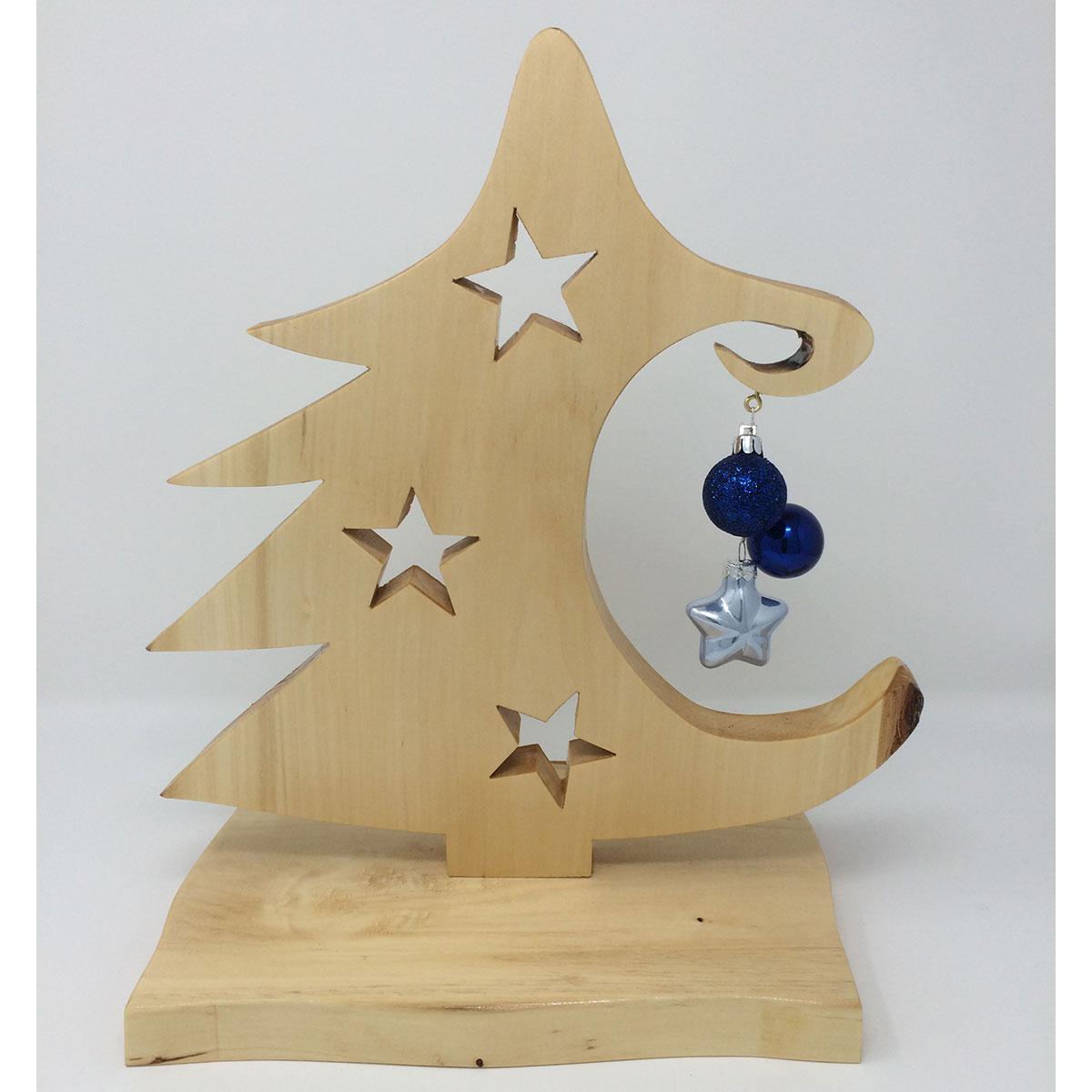 holz weihnachtsbaum christbaum mit blauer deko dreamfactory. Black Bedroom Furniture Sets. Home Design Ideas